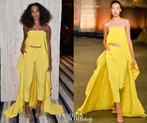 Solange Knowless Iwc Art Basel Event Christian Siriano Spring Yellow Asymmetrical Top And Cigarette Pants Solange Knowles