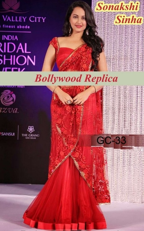 Bollywood Sonakshi Sinha Saree Collections Red Ind Mn Georgette Sonakshi Sinha
