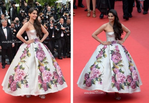 Sonam Kapoor In Cannes Wearing Dolce And Gabbana Dresses