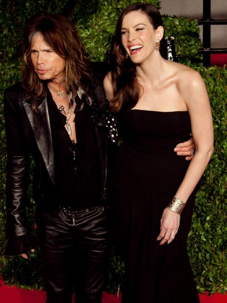 Steven Tyler And Liv Tyler Black Leather Jacket Black Strapless And Liv Tyler