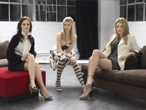 Blake Lively Leighton Meester High Heels Taylor Momsen Gossip Girl Striped Legwear Movies