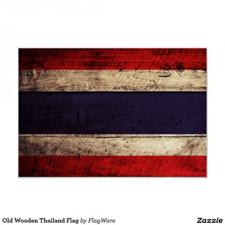 Old Wooden Thailand Flag Poster Cf Wvs Byvr Flag