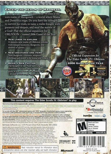 The Elder Scrolls Iv Shivering Isles Xbox Back Cover