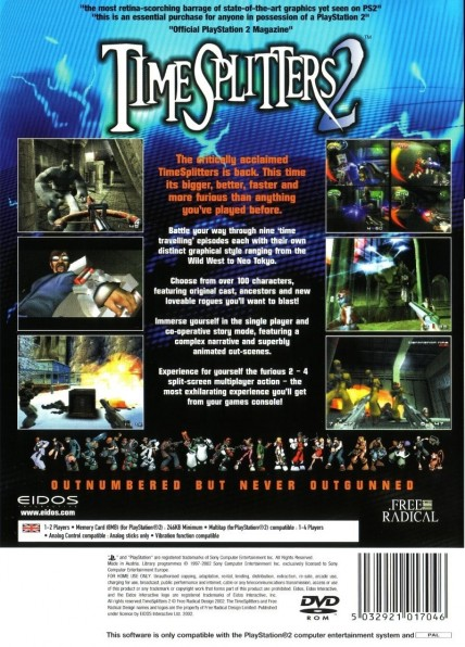 Timesplitters Playstation Back Cover Cover