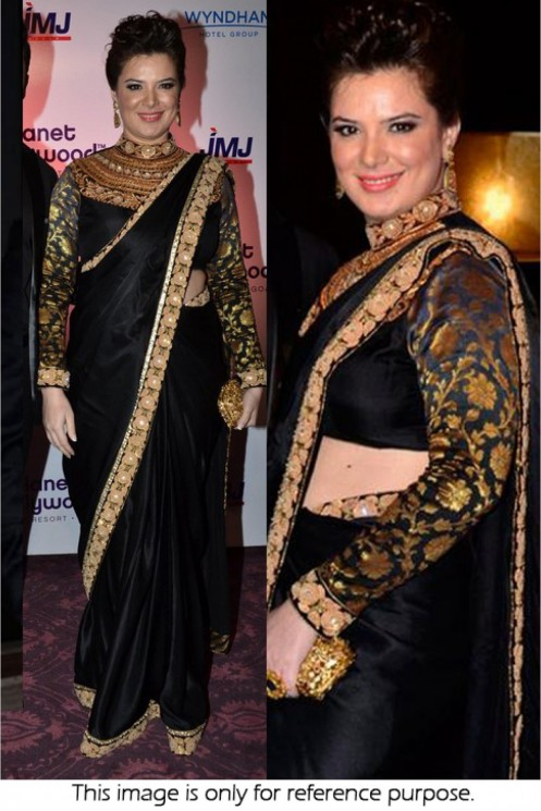 Bollywood Style Udita Goswami Gm Georgette Designer Saree In Black And Gold Colour Nc Udita Goswami