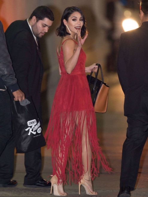 Vanessa Hudgens Jimmy Kimmel Live Tamara Mellon Red Suede Sleeveless Suede Fringe Dress Vanessa Hudgens