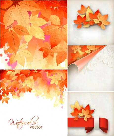 Autumn Vector Backgrounds Orange Leaves Vector