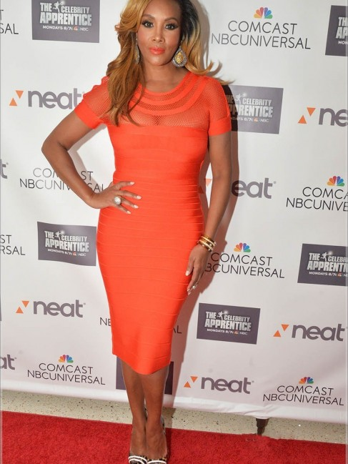 Vivica Foxs Celebrity Apprentice Private Screening Herve Leger Tania Orange Mesh Insert Bandage Dress Vivica Fox Young