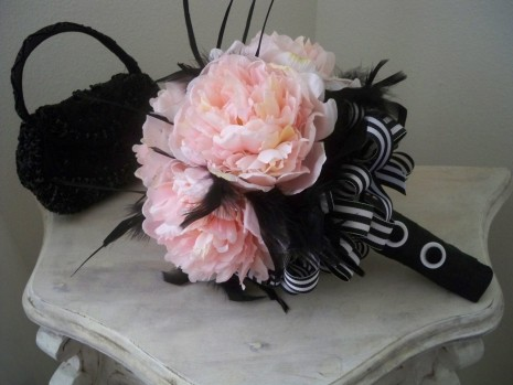 Pink Wedding Bouquet With Feathers Flowers