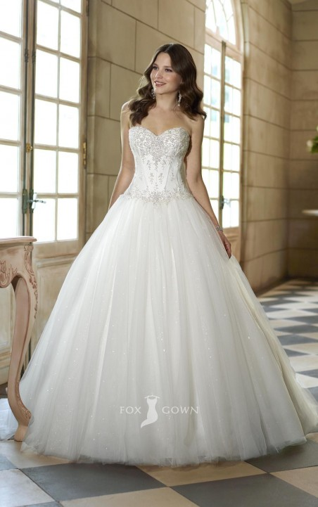 Strapless Ball Gown Wedding Dress With Beaded Corset Dresses