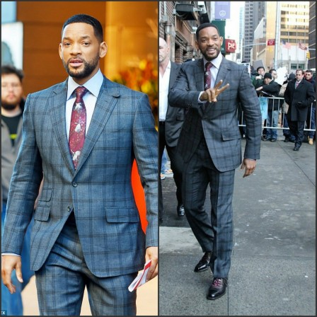 Will Smith In Plaid Suit At The Late Show With Lettterman